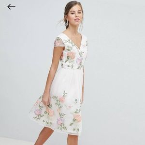 Blush pink flower-embroidered prom dress